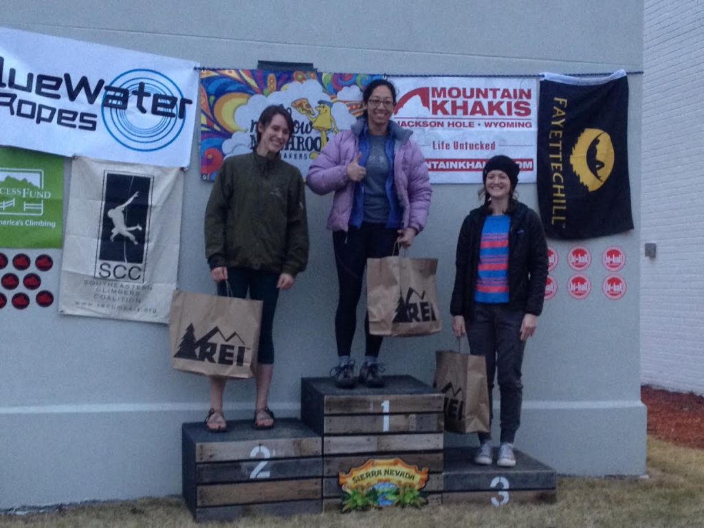 go Ninja Jess! podium as intermediate at Boat Rock Bouldering competition 2016!!