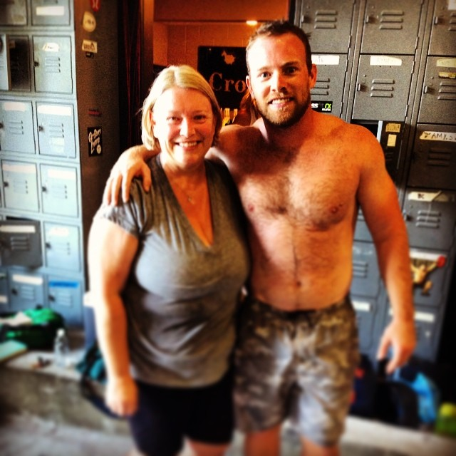 mom & son PR backsquats